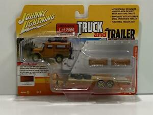 1980 Toyota Land Cruiser with Trailer Copper 1:64 Johnny Lightning JLBT013A