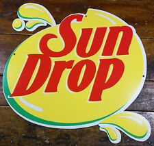 Large Sundrop Soda Pop Tear Drop Shaped Heavy Duty Metal Store Advertising Sign