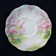 """ROYAL ALBERT BLOSSOM TIME 5 19/32"""" D. PINK BLUE GREEN ON WHITE LOT OF 2 SAUCERS"""