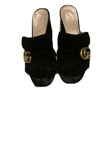 GUCCI GG Marmont Black Suede Kiltie Sandals Mules Size 37