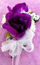 3 CORSAGE purple Roses with White Customized Wedding Prom Mother Bride