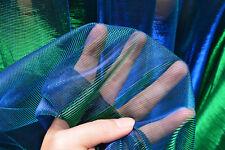 M12 Green Blue Iridescent 2 Tones Stretch Mesh Net Fabric Material