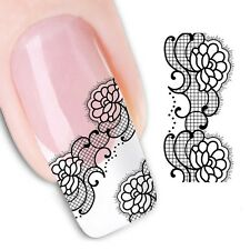 Nail Art Stickers Water Decals Transfers Black Lace (XF1341)