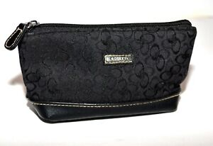 Rosetti Black Floral Canvas Faux Leather Bottom Cosmetic Bag Zip Clutch