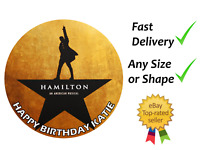 Hamilton Personalised cake topper edible icing or Wafer Round Square Rectangle