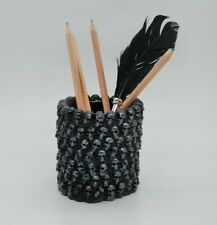BLACK & SILVER Skull Pen Pencil  Makeup Brush Holder Organizer Goth Halloween