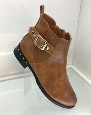 LADIES WOMENS FAUX LEATHER STYLE BROWN TAN ANKLE RIDER BOOTS LOW HEEL SIZE 5