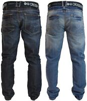 Mens Crosshatch Straight Leg Jeans Regular Fit Denim Trousers Free Canvas Belt
