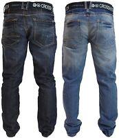 Mens Crosshatch Straight Leg Jeans Regular Fit Denim Trousers Free Canvas Belt