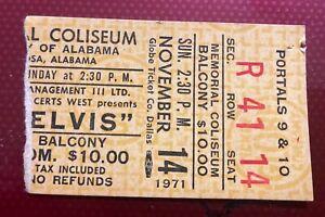 Elvis Presley Concert Ticket Stub Tuscaloosa Alabama 1971