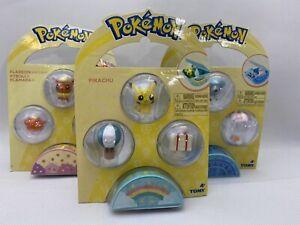 Tomy Pokemon 3 Ball Sets Small Figurines Lot of 3 Sets Pikachu Flareon Cubchoo