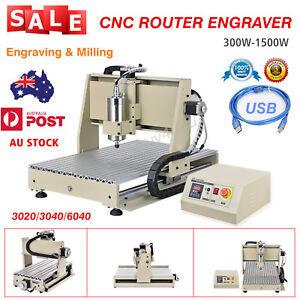 USB CNC ROUTER ENGRAVER MILLING MACHINE MACHINE 3020 3040 6040 300W-1500W AU NEW