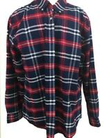 St Johns Bay mens shirt size XL long sleeve red blue plaid Easy Care 1 pocket