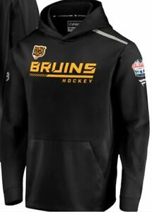 NWT Boston Bruins 2021 NHL Outdoors at Lake Tahoe Rinkside Pullover Hoodie LARGE
