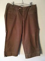 Eddie Bauer Women's Brown Capri Pants  Blakely Fit Size 8 Cotton Blend