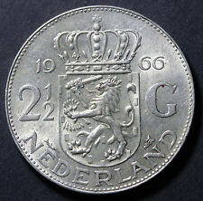 1966 Netherlands 2-1/2 Gulden KM# 185 Juliana Silver Coin Carwheel Luster AU