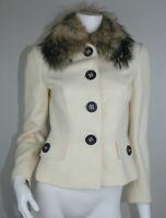 Dolce & Gabbana Coat 40 Off White Ivory Wool Fox Fur Collar Button Jacket US 4 6
