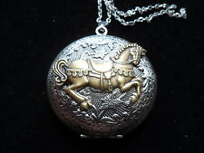ANTIQUE SILVER CAROUSEL HORSE LOCKET  LARGE