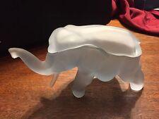 ELEPHANT: Vintage Tiara Glass FROSTED BLUE ELEPHANT Candy Trinket Dish