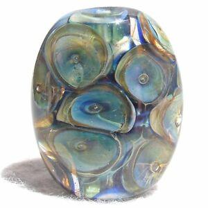PUGET Handmade Art Glass Focal Bead Flaming Fools Lampwork Art Glass SRA