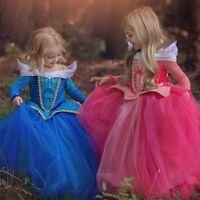 Toddler Kids Girl Princess Aurora Sleeping Beauty Costume Party Fancy Dress 3-9T