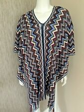 MISSONI SIGNATURE ZIGZAG KNITTED PONCHO / SCARF MADE IN ITALY