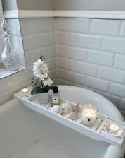 Bamboo Wood Bath Tub Rack Bathroom Shelf Tidy Tray Storage Caddy Organiser