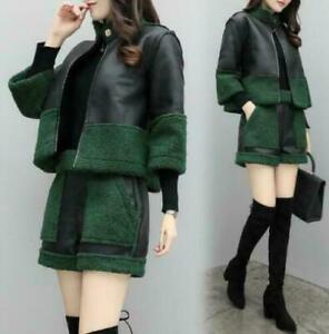 Womens Faux Leather Lamb Fur Sheepskin 2PCS Coat Short Winter Warm Slim Fit Sets