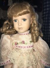 Vintage Porcelain Doll Lacy Ivory Dress Crinoline Pink Rose Buds Blonde 17""