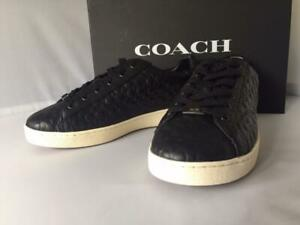 NIB COACH WOMEN'S Signature C Debossed Leather Low Top Sneaker C106 Black Sz 9B