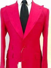 Red summer linen suit with double stitched wide peak lapel made in Italy