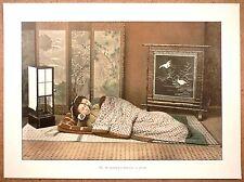 JAPON  Chambre à coucher - Photochromie fin 19ème  Gravure