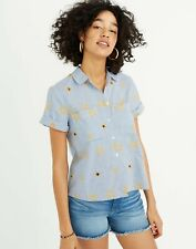 Madewell Star Embroidered Striped Short Sleeve Button Down Blouse Size Small $78