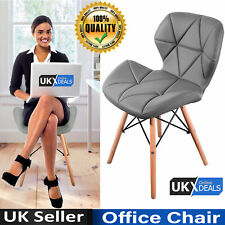 Eiffel Dining Chair Retro Wooden Legs Faux Leather Padded Seat Office Home UK