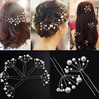 Pearls White Bobbin Hair pins Cluster Clips Prom Wedding Bridal Bridesmaids