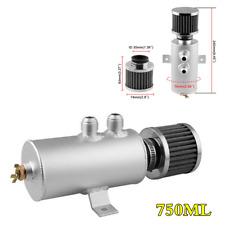 2-Port Baffled Engine Oil Separator Catch Can Reservoir Tank w/Breather Filter