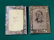 2 antique picture frames made in england lustre edge class fronted used