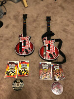 Lot Of 2 Wii Les Paul Gibson Red Octane Controllers & 2 Guitar Hero Games Bundle