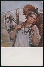 art Solomko ? romantic love couple & white horse original old 1910s postcard