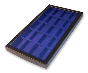1Glass Display Case Box Blue Divided Compartments Suitable for 20 Lighter