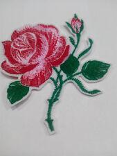 Parche bordado para coser 10/8 cm ROSA flores  adorno ropa personalizada