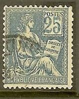 "FRANCE TIMBRE STAMP N° 114 "" TYPE MOUCHON , 25 C BLEU "" OBLITERE TB"