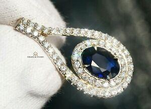 Sapphire Pendant Gold Diamond Necklace Natural 3.28CTW AIG Certif RETAIL $12400