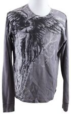 MINT Affliction Waffle-Knit Angel Wings Crew L/S Shirt MENS XL Gray Cotton