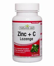 Natures Aid Zinc Lozenges (Peppermint) with Rosehip + Vitamin C - 30 Lozenges