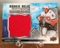 JUUSO VALIMAKI 2018-19 UD ICE ROOKIE RELIC PATCH JERSEY CALGARY FLAMES #'d /199