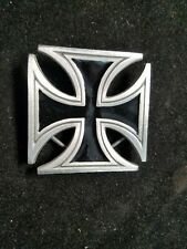 "2000 Great American Company 4559 Fine Pewter Iron Cross Belt Buckle 2.5"" X 2.5"""