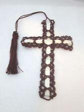Handmade crocheted Cross  Bookmark - dK Burgandy  with Cream ribbon