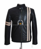 Driver Men's Black With Beige Stripes Smart Casual Real Lambskin Leather Jacket