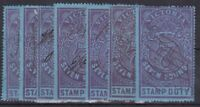 V278) Victoria 1884/96 £7 Violet on Blue Stamp Duty perf 13, SG 250
